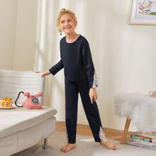 Girls Lace Panel Pajama Set