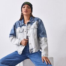 Two Tone Flap Pocket Front Denim Jacket