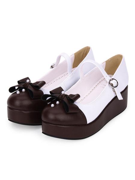 Milanoo Classic Lolita Footwear Pearl Bow Two Tone Platform PU Lolita Pumps
