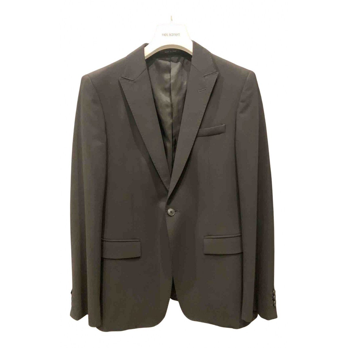Emporio Armani N Black Wool Suits for Men 48 IT