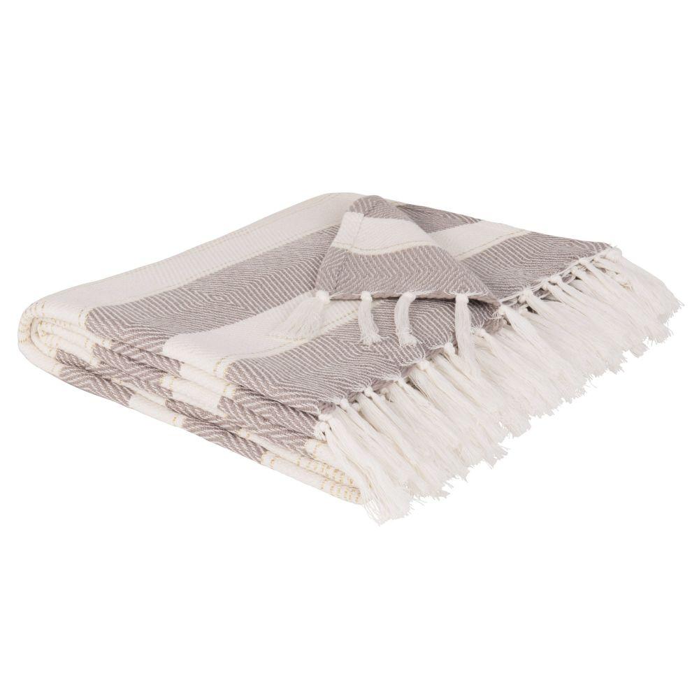 Decke aus Baumwolle, ecrufarben und beige 180x240