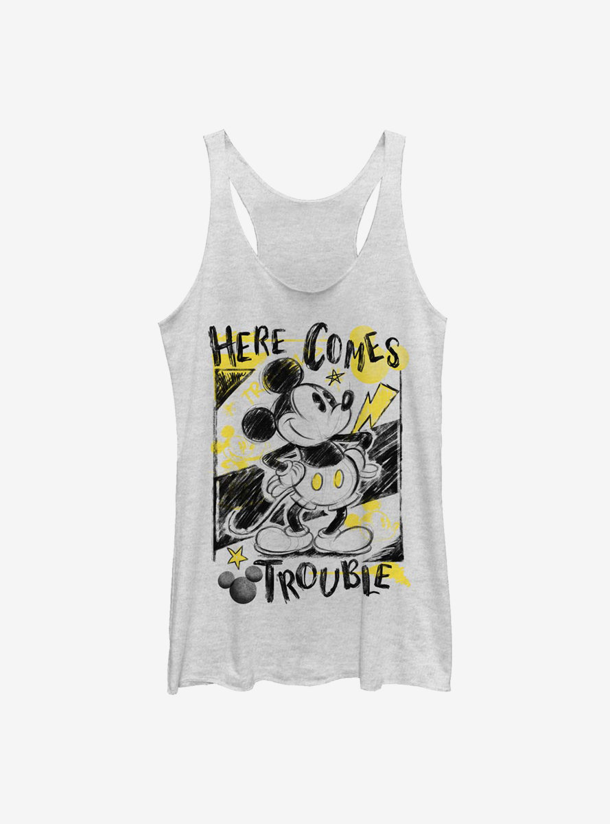 Disney Mickey Mouse Trouble Comes Womens Tank Top