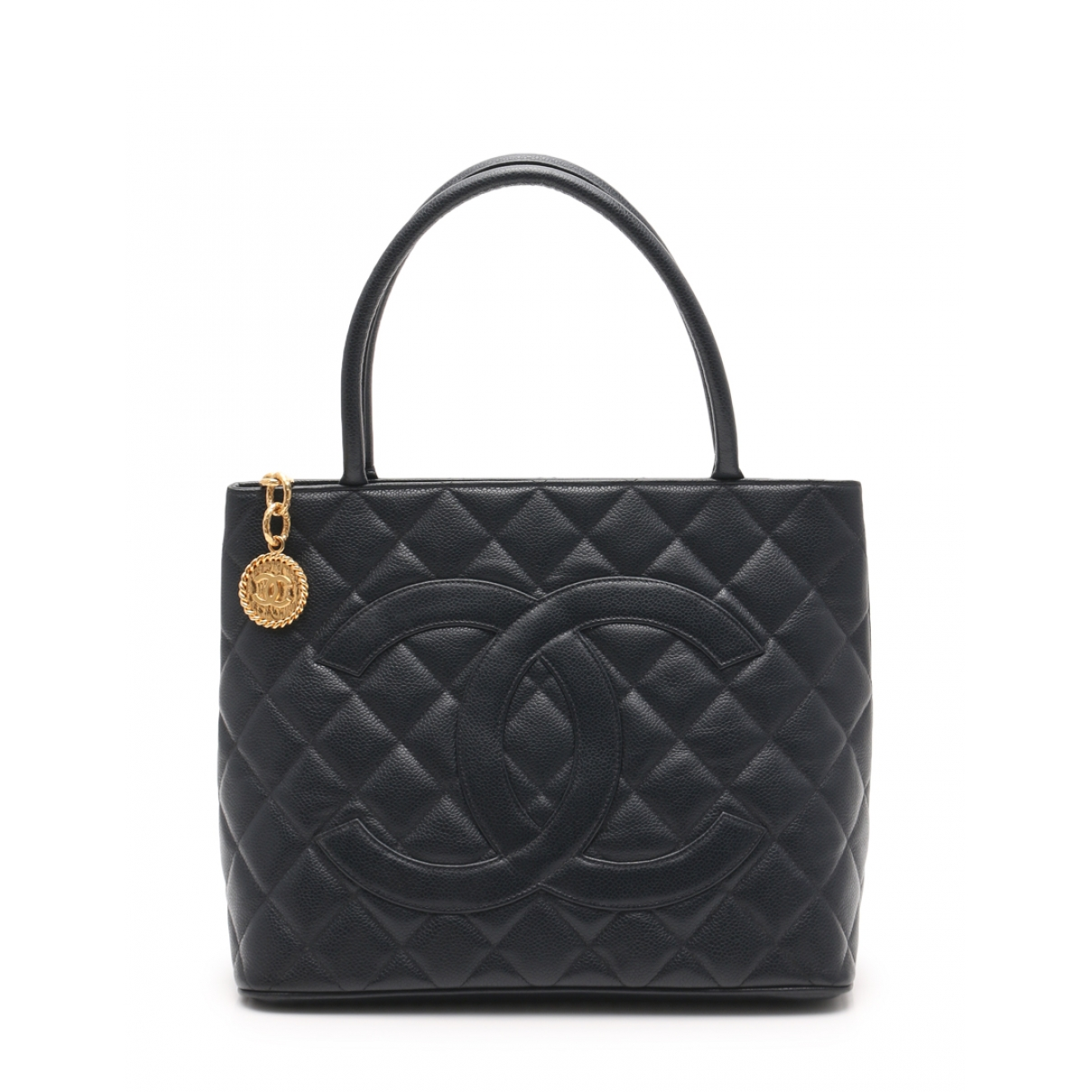 Chanel Medaillon Handtasche in  Marine Leder