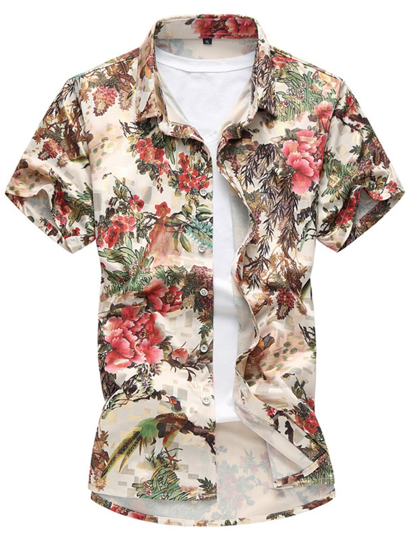 Ericdress Floral Print Short Sleeve Vogue Casual Men's Shirt