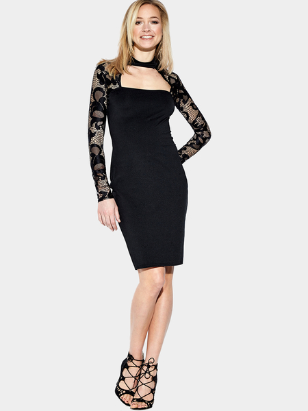 Yoins Black Lace Insert Long Sleeves High Neck Bodycon Dress