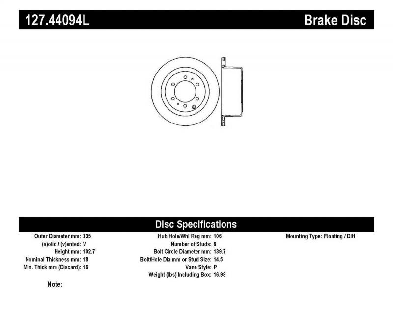 StopTech 127.44094L Sport Drilled/Slotted Brake Rotor; Rear Left Rear Left