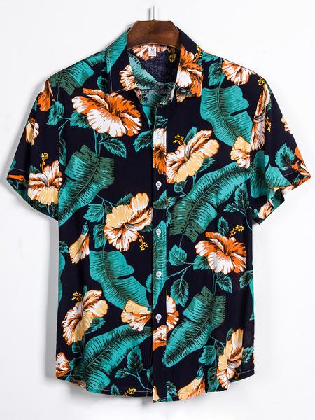 Yoins Men Summer Printed Tropical Casual Short Sleeve Shirt