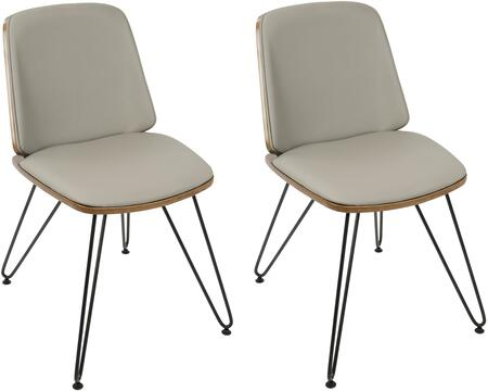 Avery Collection CH-AVRYWLGY2 Set of 2 Dining Chairs with Foam Filled Cushion  Metal Hairpin Legs  Mid-Century Modern Style  Solid Wood Back and