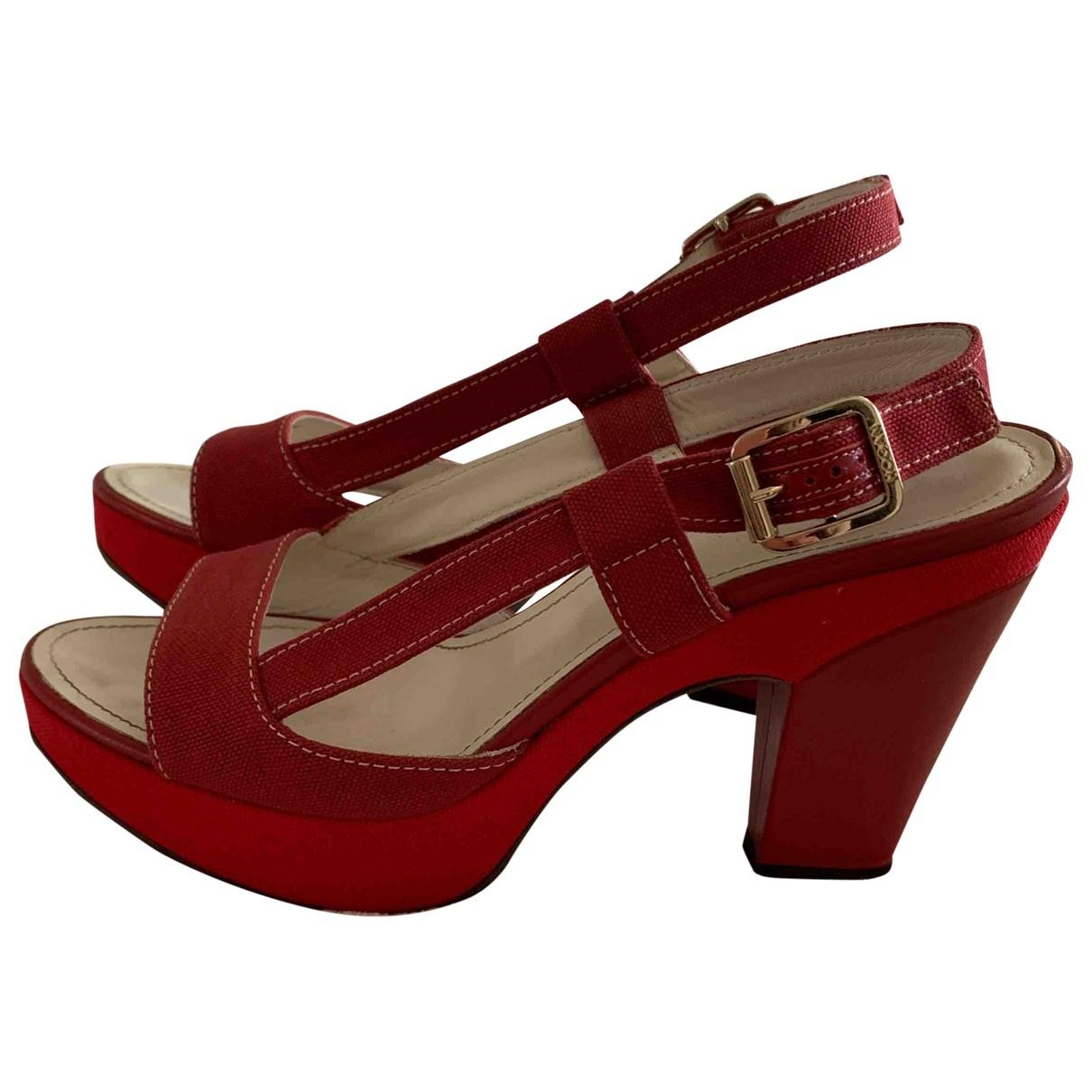 Hogan - Sandales   pour femme en toile - rouge