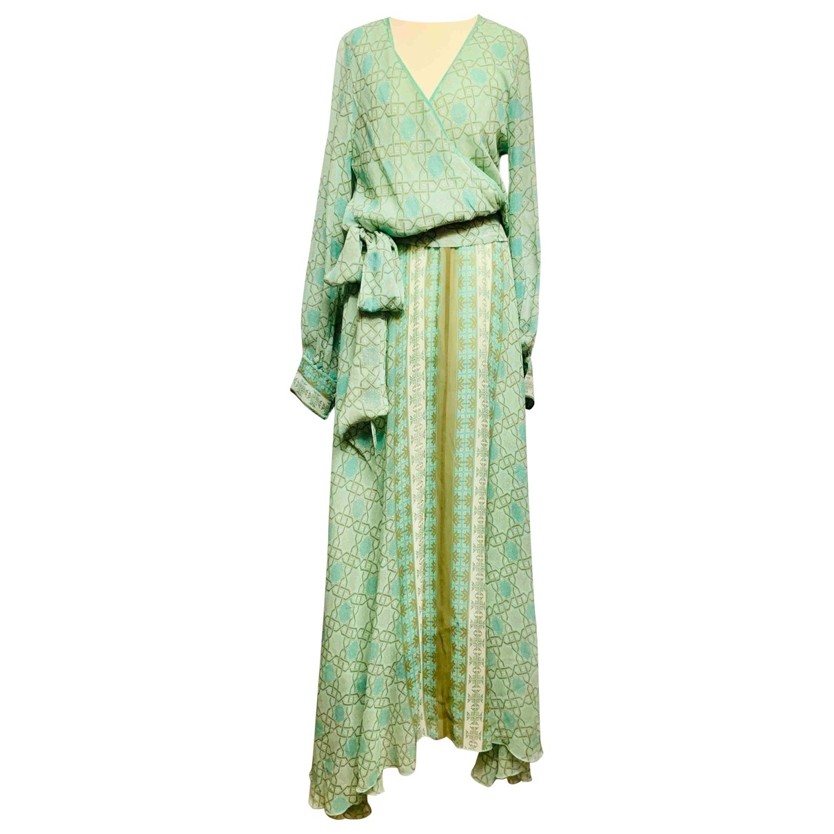 Non Signe / Unsigned Hippie Chic Kleid in  Blau Seide