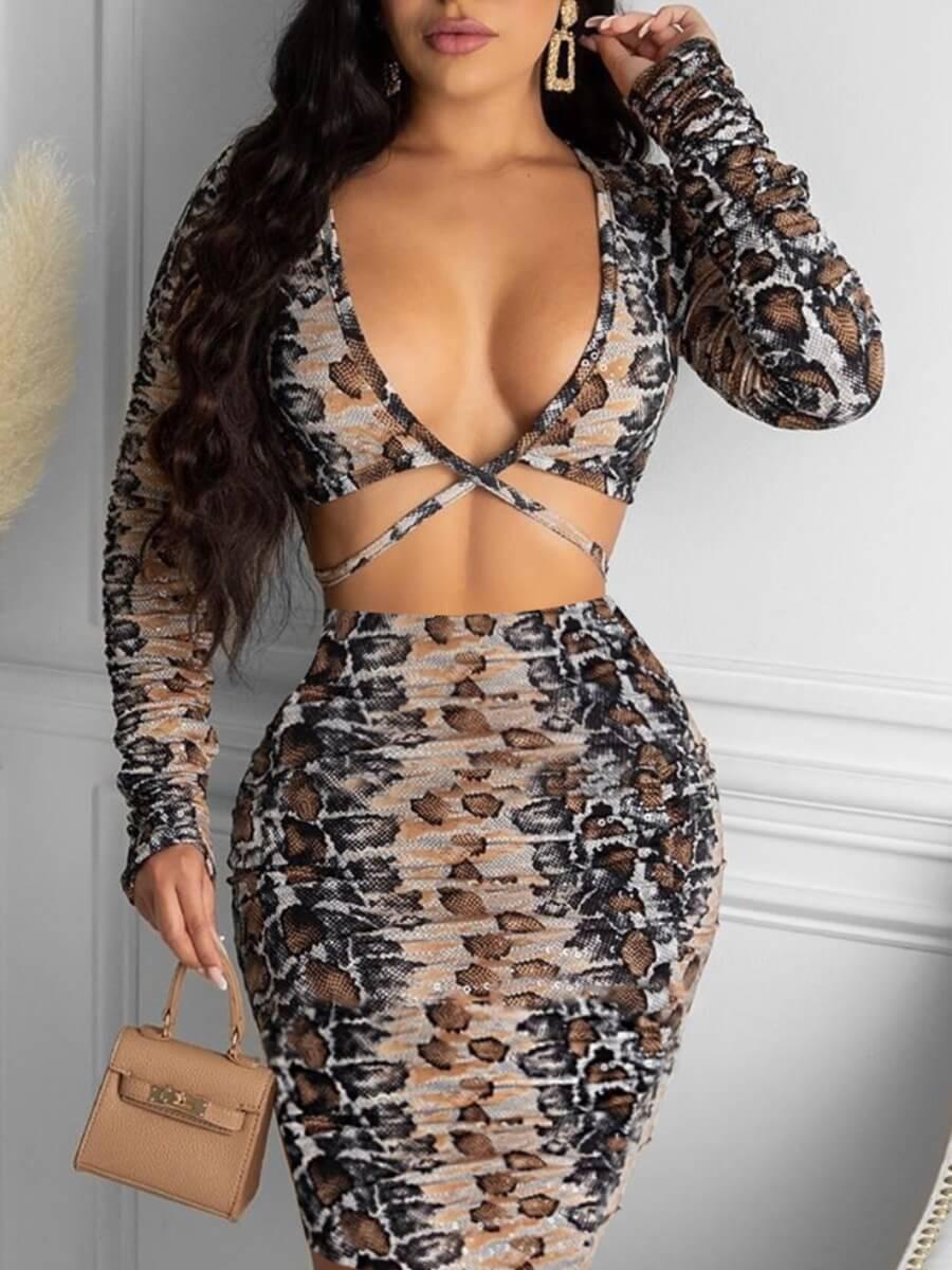 LW Lovely Sexy Deep V Neck Hollow-out Snake Print Knee Length Sheath Dress