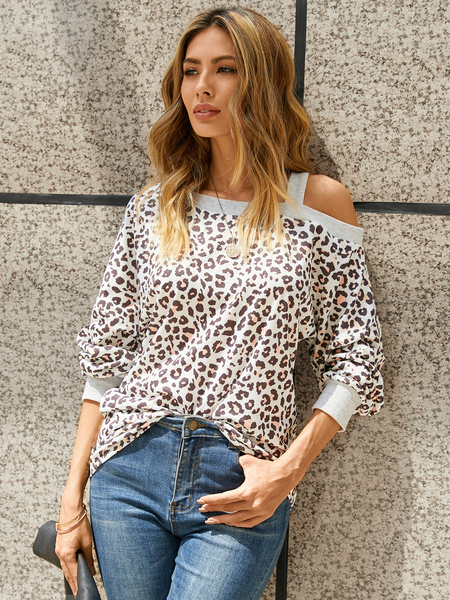 YOINS Apricot Leopard One Shoulder Long Sleeves Sweatshirt