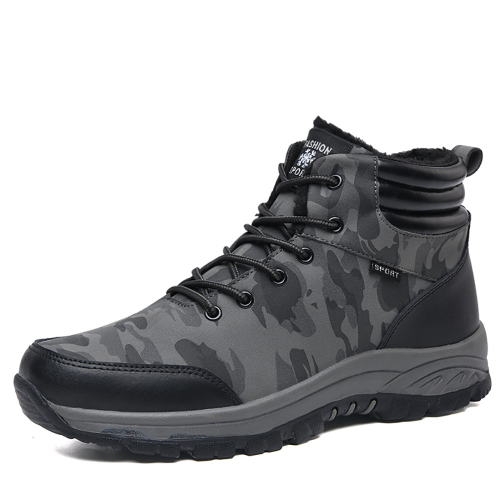 Men Outdoor Slip Resistant Warm Push Lining Lace Up Hiking Boots