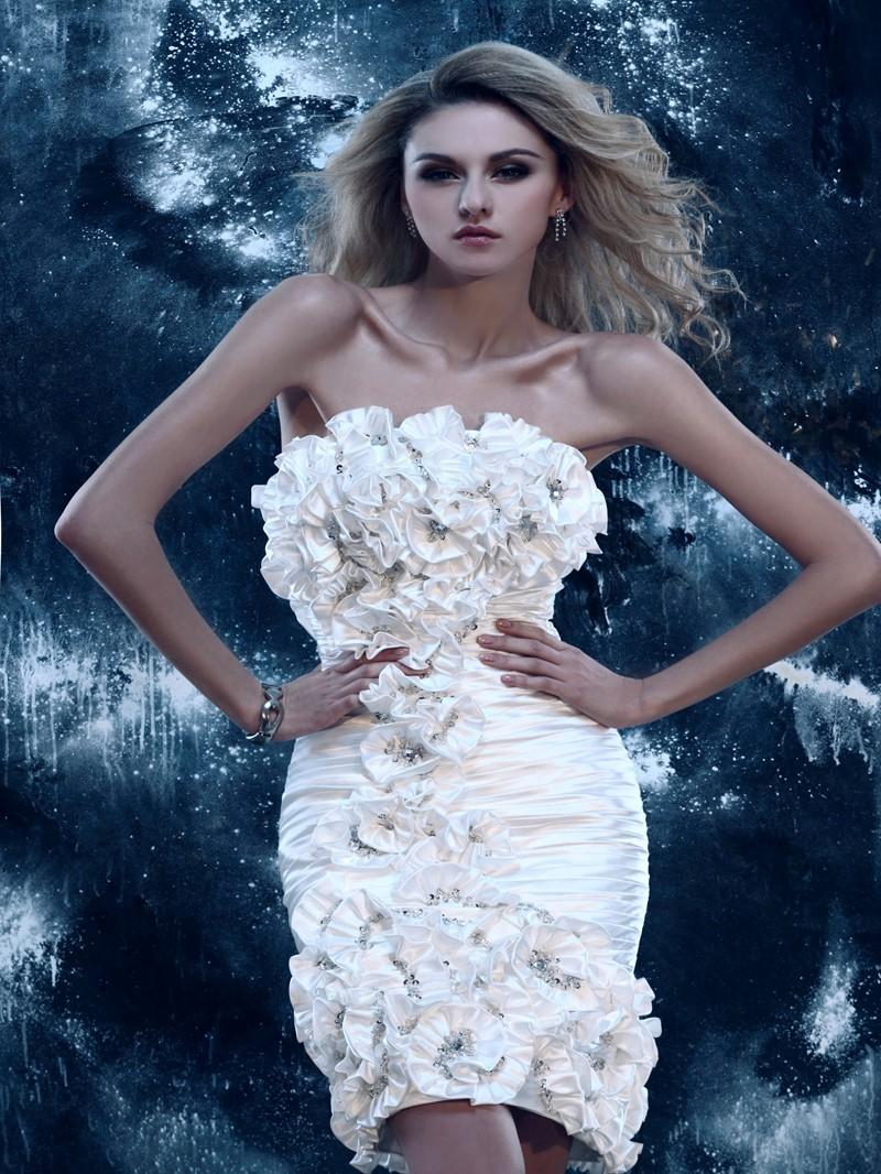 Gorgeous Strapless Column Flowers Cocktail Dress