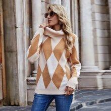 Pullover mit Argyle Muster und Stehkragen