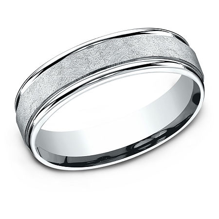 6MM 10K White Gold Wedding Band, 12 , No Color Family