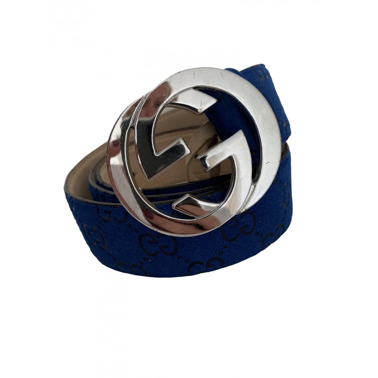 Gucci Interlocking Buckle Blue Suede belt for Women M International