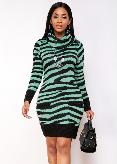 Cocktail Party Dress Pocket Striped Cowl Neck Sweater Dress - S