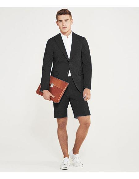men's summer business suits with shorts pants set (sport coat) Black