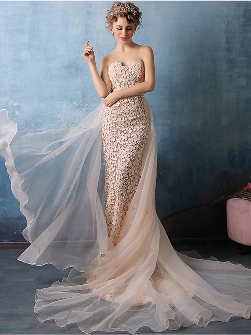 Ericdress Glamorous Sweetheart Neck Sleeveless Floor Length Lace Evening Dress