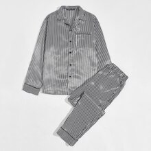 Guys Revere Collar Contrast Tipping Striped Satin Shirt and Pants PJ Set