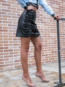 D&M Drawstring Ruched PU Leather Skirt