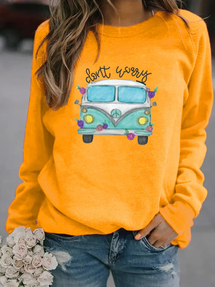 Cartoon Bus Letter Print Long Sleeve Casual Sweatshirt For Women
