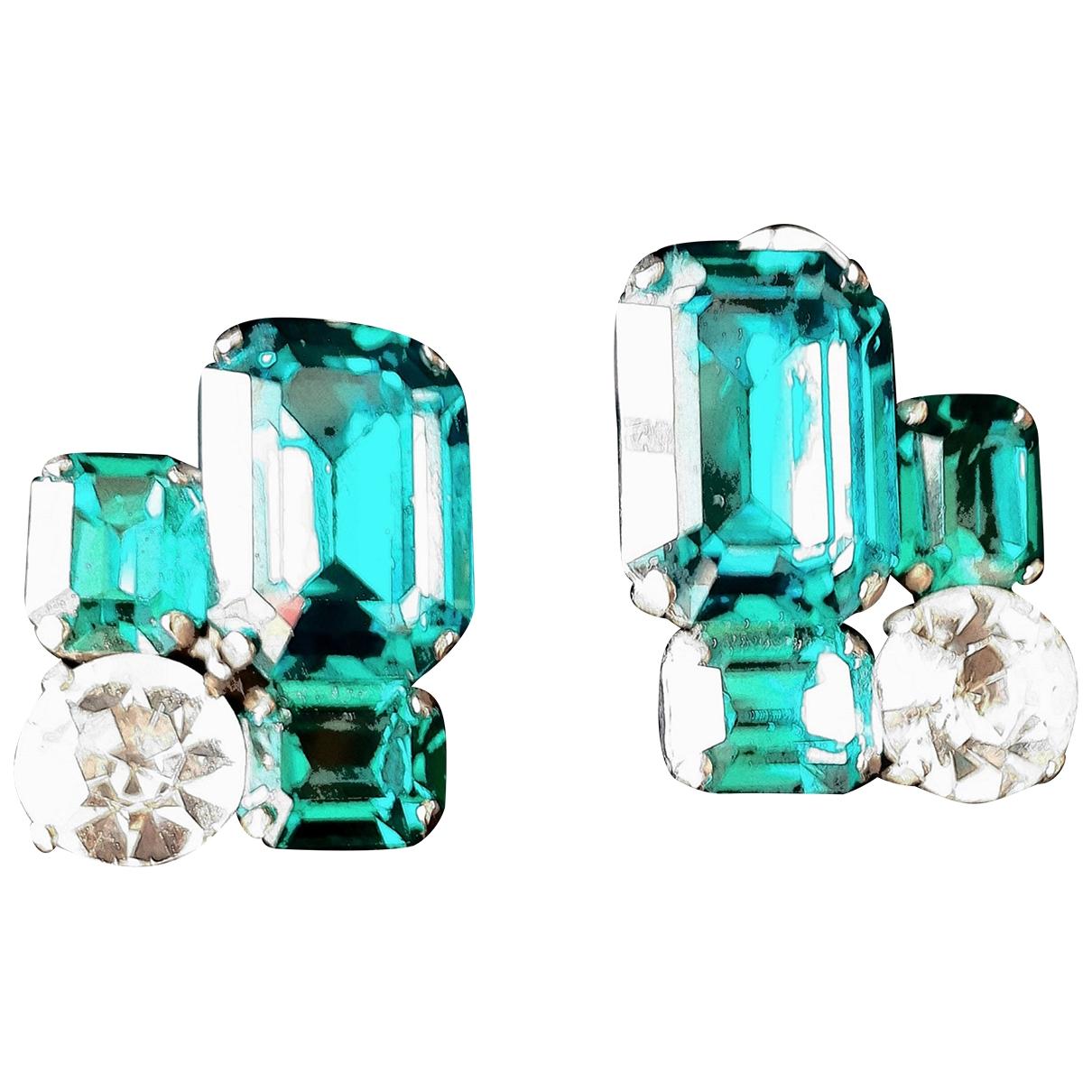 Non Signe / Unsigned \N OhrRing in  Blau Glas