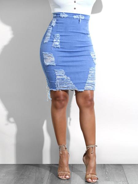 Yoins Blue Random Ripped Details Denim Skirt