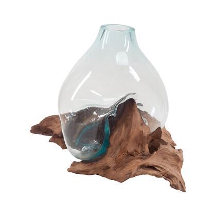 7163-048 Driftwood Glass Bottle  In Aqua