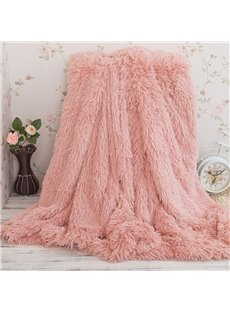 Solid Peachy Beige Long Shaggy Chic Fuzzy Double Layer Throw Blanket