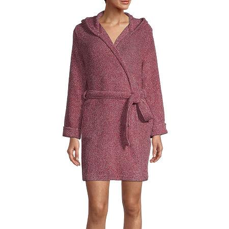 Rene Rofe Womens Fleece Long Sleeve Knee Length Robe, Small , Red