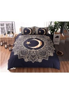 Golden Moon and Star Soft Duvet Cover Sets 3-Piece 3D Bedding Sets Without Flat Sheet