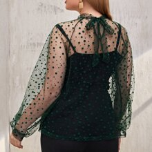 Plus Tie Back Polka Dot Flocked Mesh Top Without Cami