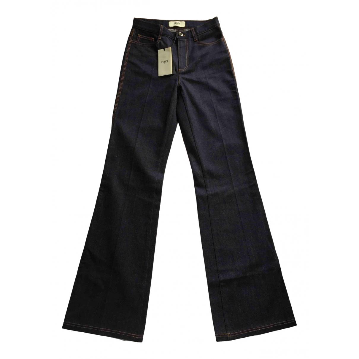 Fendi \N Blue Cotton Trousers for Women 40 IT