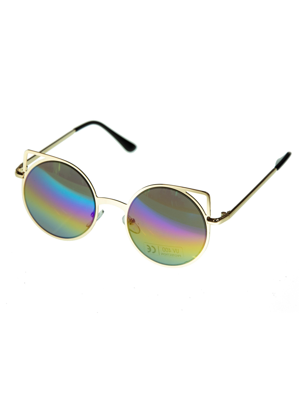 Kostuemzubehor Brille rund Glaeser bunt Farbe: multicolor bzw. bunt
