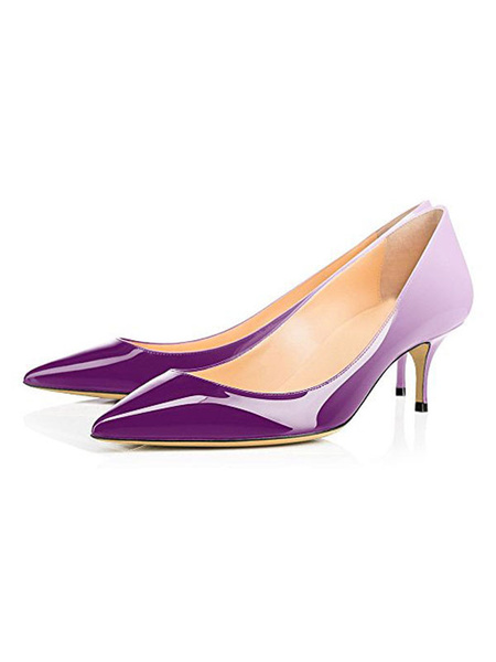 Milanoo Women\s Pumps Pointed Toe Stiletto Heel Purple Mid Low Heels Ombre Color Block Women Shoes