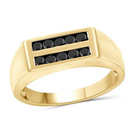 Mens 1/2 CT. T.W. Genuine Black Diamond 14K Gold Over Silver Ring, 10 , No Color Family