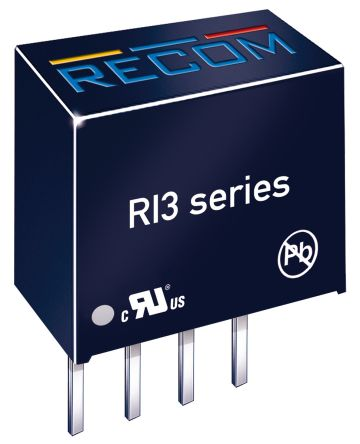 Recom RI3 3W Isolated DC-DC Converter Through Hole, Voltage in 15 V dc, Voltage out 15V dc