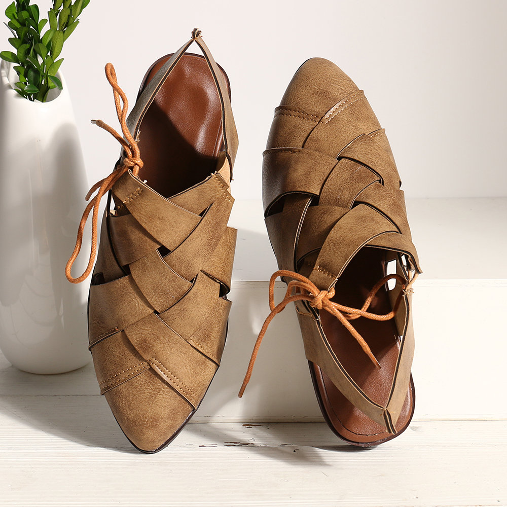 Big Size Women Casual Pointed Toe Cross Strappy Lace Up Flat Sandals