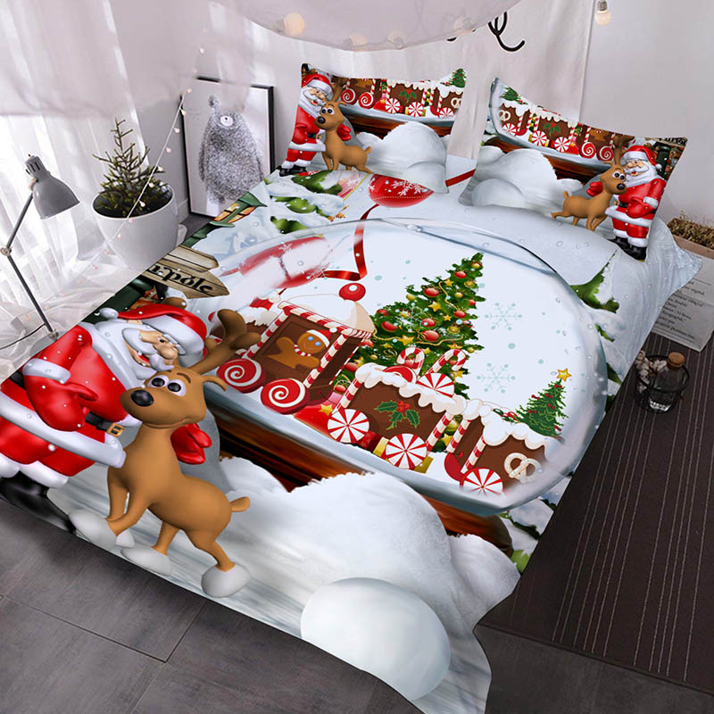 Cartoon Santa Claus And Elk With A Train Full of Presents 3D Printed 3-Piece Polyester Comforter Sets