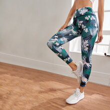 Tropical & Floral Print Sports Leggings