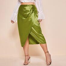 Plus Asymmetrical Hem Satin Skirt