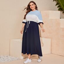 Plus Lantern Sleeve Colorblock Drawstring Waist Dress