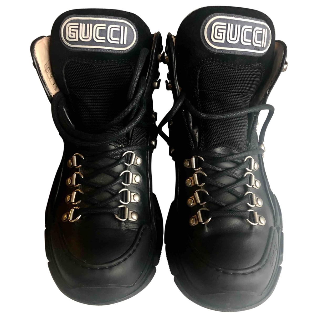 Gucci - Baskets FlashTrek HighTop pour femme en cuir - noir