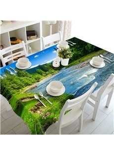 Thick Green Forest and Flowing River Printing Decorative and Oil-Proof Table Cover