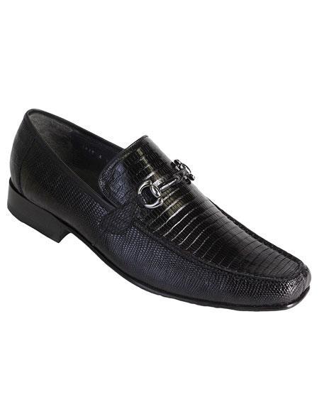 Men's Genuine Teju Lizard Skin Slip-On Black Casual Dress Shoes