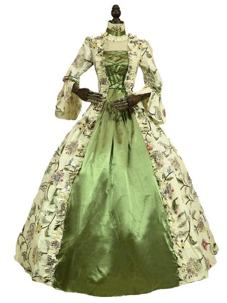 Milanoo Disfraz Halloween Disfraz del siglo XVIII Disfraces retro verde Vestido estampado floral Mujer Estilo victoriano Conjunto de traje de Maria An