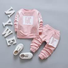 Kleinkind Maedchen Sweatshirt mit Kontrast Einsatz, Buchstaben Muster und Jogginghose