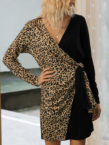 Yoins Casual Leopard Patchwork Lace-up V-neck Long Sleeves Dress